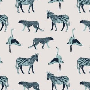 Blue zebra, cheetah, flamingo