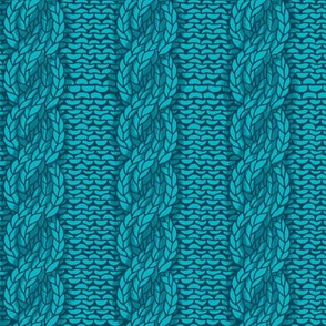 cable knit - teal