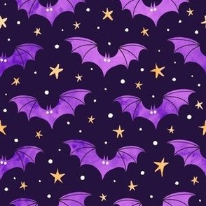 Watercolor Bats Purple on Black