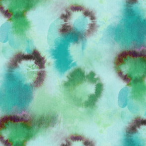 tie and dye circles blue green
