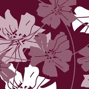 floral dark red - large