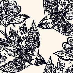 Lace Birds {Black/Cream}