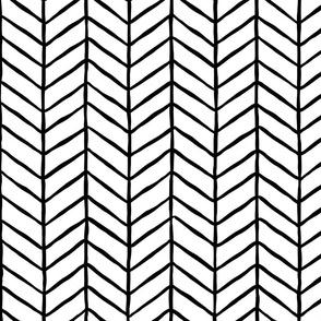 hand drawn herringbone | large scale in black