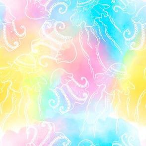 Colorful ocean jellyfish seamless pattern design