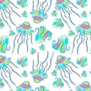 Colorful jellyfish watercolor hand drawn seamless pattern