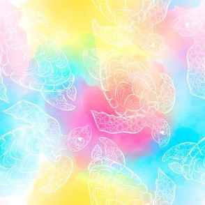 Colorful watercolor sea turtle seamless pattern design