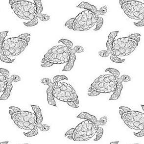 Black and white sea turtle seamless pattern line design