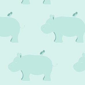 sleepy hippo and bird mint