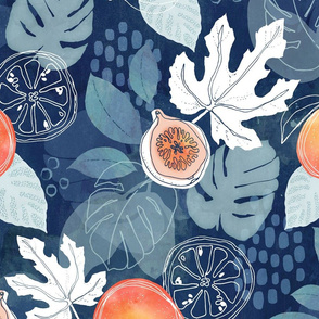 Tropical fruit on navy blue