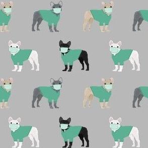 frenchie scrubs fabric - french bulldogs fabric, nurse fabric -  grey