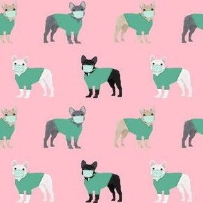 frenchie scrubs fabric - french bulldogs fabric, nurse fabric -  pink