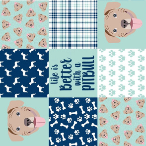 fawn pitbull cheater quilt - cheater quilt, dog quilt, pitbull quilt - navy and mint