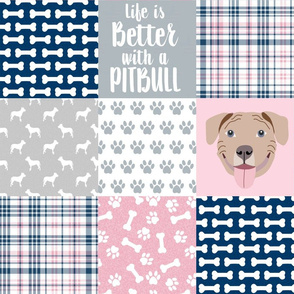 fawn pitbull cheater quilt - cheater quilt, dog quilt, pitbull quilt - navy and pink