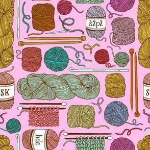 knitting - pink