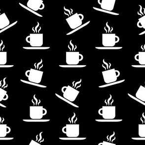 Coffee Mugs Pattern with Black Background
