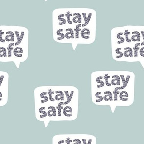 Inspirational text designs Stay safe and stay home corona virus design cool minty blue gray leopard spots