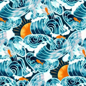 Ocean 'Tide' Dye - Orange & Teal (Small Version)