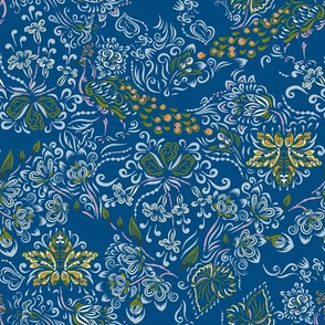 Decorative flora and fauna on blue