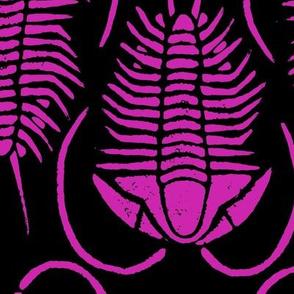 Trilobite blockprint, large - fuschia on black