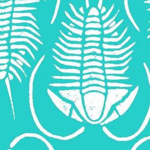 Trilobite block print, large - white on aqua