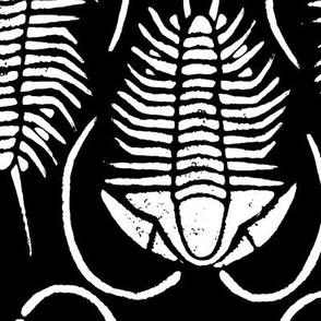 Trilobite block print, large - white on black