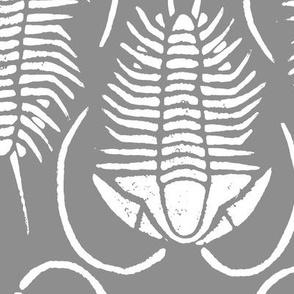 Trilobite block print, large - white on grey