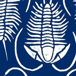 Trilobite block print, large - white on navy