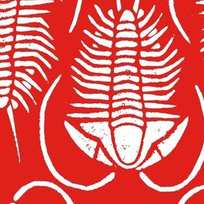 Trilobite block print, large - white on red