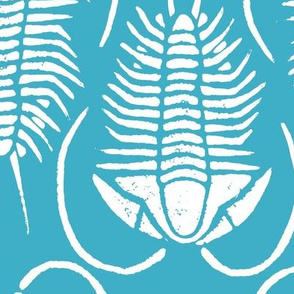 Trilobite block print, large - white on turquoise