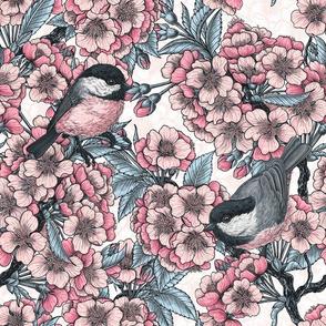 Cherry blossom and chickadee birds, small size