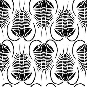 Trilobite block print, medium - black on white
