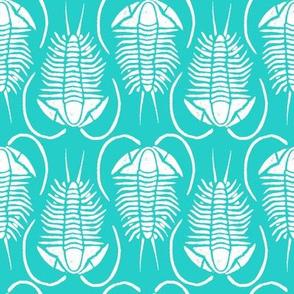 Trilobite block print, medium - white on aqua