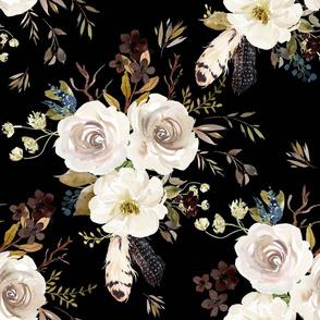 """18"""" Autumn Harvest Flowers - Black 90 degrees"""