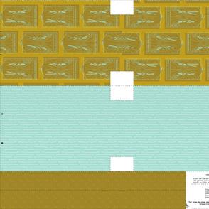 Cut and Sew Knitting Tote - mustard & aqua