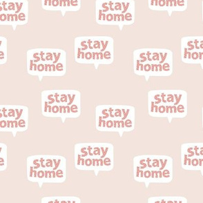 Inspirational text design stay home save lives corona virus design beige pink leopard spots SMALL