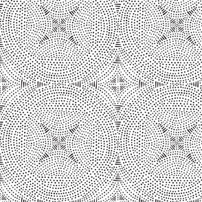 Black and white circles and dots