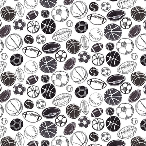 Sports Ball in Black and White - Baseball, Football, Basketball and Soccer Extra Small Version