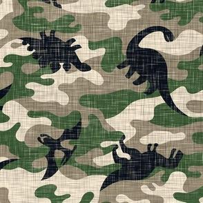 Dinosaur Camouflage / Khaki Linen Texture Camo Military Dino Boy Fabric Wallpaper
