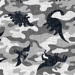 Dinosaur Camouflage Grey Linen Texture Camo Military Dino Boy Pattern