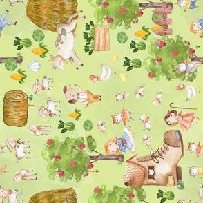 "8"" Mary had a little lamb - fairytale farmland  green turned left"