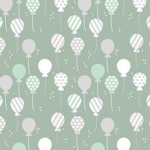 Party balloon fun birthday wedding theme in modern boho pastel colors mint sage green