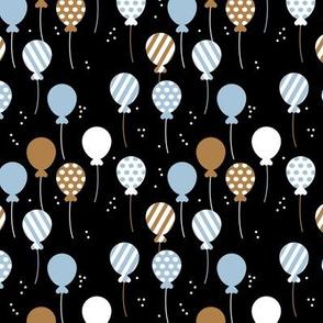 Party balloon fun birthday wedding theme in modern boho black blue chocolate boys