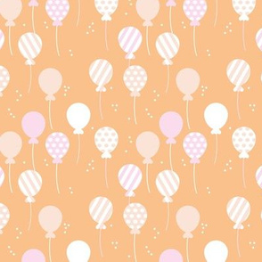 Party balloon fun birthday wedding theme in modern boho pastel colors blush peach apricot pink