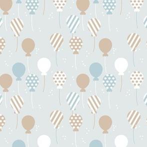 Party balloon fun birthday wedding theme in modern boho pastel blue gray latte boys