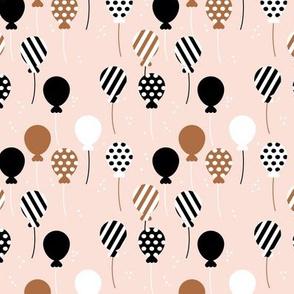 Party balloon fun birthday wedding theme in modern boho pastel beige rust black and white neutral