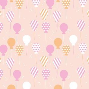 Party balloon fun birthday wedding theme in modern boho pastel beige pink honey yellow girls