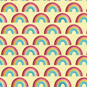 little rainbows with yellow background