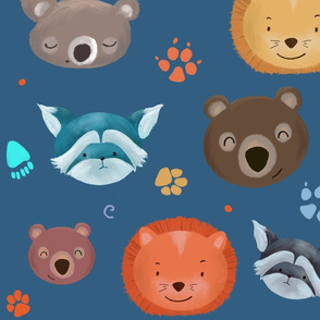 wild animals _ blue background