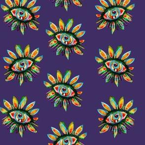 Purple background sun flower repeat pattern