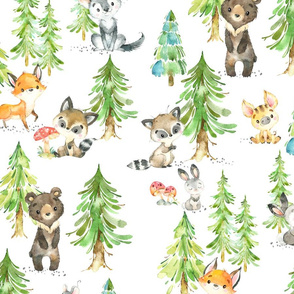 XL Young Forest – Kids Woodland Animals & Trees, Bedding Blanket Baby Nursery